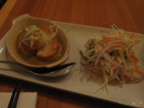 Seared dayboat scallops with red curry sauce, pink lady apples and jicama slaw at The Slanted Door
