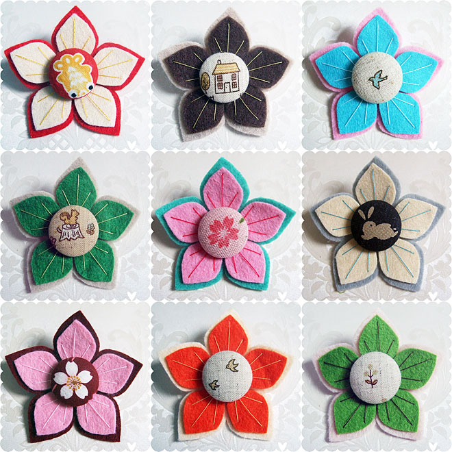 Japanese Flower Brooches