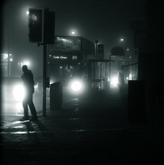Jazz... (Che-burashka) Tags: street light urban music mist inspiration bus london monochrome weather silhouette fog night freedom action steps foggy citylife documentary jazz adventure romantic doubledecker ordinary elegance newlife careless diffusedlight greaterlondon fivestarsgallery 400d visiongroup locallondon mondocafeclub obq trafficlightsteps stepsforwardoutofordinary
