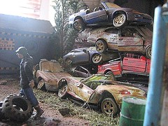 'Scrapyard' Diorama - 17 of 21 (Kelvin64) Tags: people dog art cars dogs car truck toy toys mercedes artwork model automobile models arts mini scene hobby vehicles lorry german mercedesbenz figure vehicle vans trucks scrapyard hobbies tamiya van alsatian saab figures scenes automobiles diorama shepard minis forklifts artworks crushers lexus dioramas forklift diecasts crusher pastime lorries diecast modelmaking modelmaker pastimes scrapyards cararama saabs alsatians modelmakers tamiyas cararamas