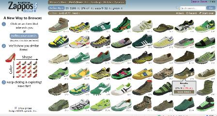 Zappos green shoes filter