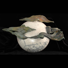 Raku Moon and Clouds (TheBuddhaBuilder) Tags: sculpture cloud moon white art statue modern clouds ceramics buddhist buddhism glaze zen pottery crackle raku thebuddhaproject