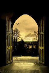 Through the Arched Door (KY-Photography) Tags: road door uk sky ontario canada tree bird monochrome sepia architecture clouds scotland flying nikon gate europe arch glasgow ky gothic guelph medieval frame gb cloister nikkor khalid westend kelvingrove glasgowuniversity allrightsreserved strathclyde kal lanarkshire explored d80 nikond80 18135mmf3556g kyphotography