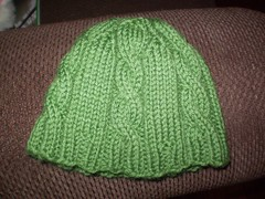 Green cable beanie (flamehair) Tags: charity knitting beanie