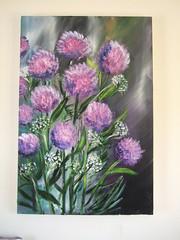 flowers in the rain (Ros Webb art) Tags: flowers art paintings floralart