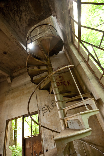 Spiral staircase in the pump house