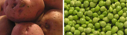 Red Potatoes & Peas from a Home Kitchen Garden