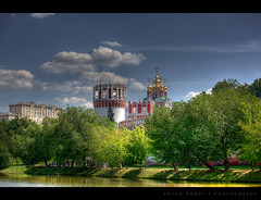 Novodevichy Convent (anton khoff) Tags: old blue sky building tree green tower nature water grass stone wall architecture clouds canon pond moscow monastery fortress convent hdr canon70200mmf4 novodevichyconvent flickraward platinumpeaceaward antonkhoff