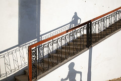 Shadows - Chefchaouen, Morocco (Maciej Dakowicz) Tags: africa city travel shadow wall stairs children morocco maghreb chaouen chefchaouen