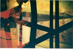 Dylan in the Picture (jasminfish) Tags: bridge brazil cats colors brasil boats island lomo lomography barcos mask ponte es ilha wrecked máscara vilavelha colorido lomografia gambiarra 3ponte experiência morrodomoreno redscale fujisuperiaiso100 praiadoribeiro muitascores holga135bc