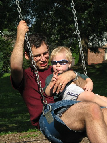 Binding on the swings with Dad