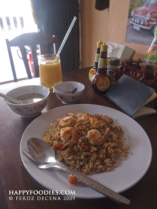 Stir Fried Prawn Rice (18,000 Kip) and Mango Shake (7000 Kip)