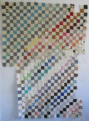Vintage Unfinished Quilt Top (amyehodge) Tags: pink blue red orange white black green yellow vintage purple quilt squares top gray unfinished handsewn multicolored flimsy muslin handpieced