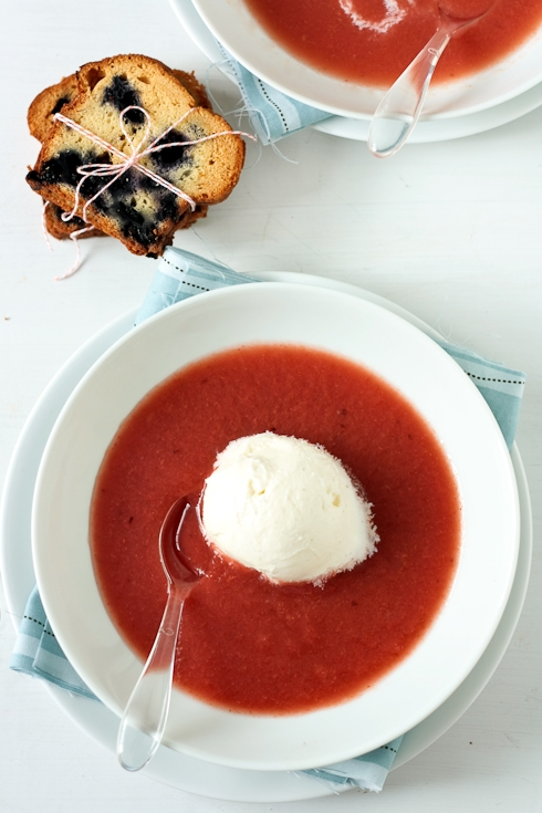 Plum Watermelon Soup With Lemon Balm Ice Cream and Toasted Blueberry Pound Cake
