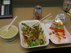 @ Eclectic lunch. Asian beef salad, cream of asparagus soup, Diet Coke & fishies