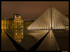 Le Louvre by night (Dan Wiklund) Tags: paris france reflection castle night cityscape exterior pyramid louvre d200 2008 nuit pyramide cloudcover lelouvre urbanlandscape thelouvre lpdarkness