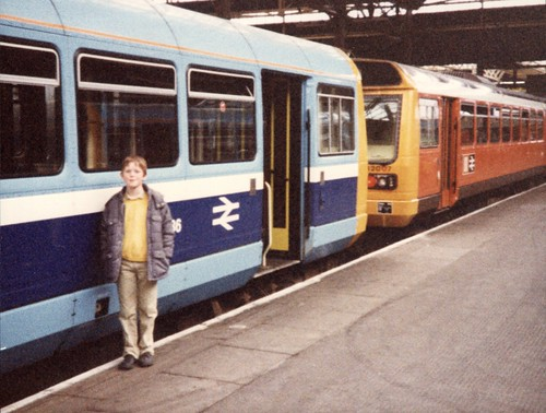 Me and some trains (aged something like 8 or 9)