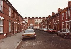 Approach to Maine Road Stadium, Manchester, 1985 (Cybermyth13) Tags: city uk england urban building cortina club manchester football stadium angles 1980s 1985 manchestercity mcfc maineroad fordcortina anglesanglesangles