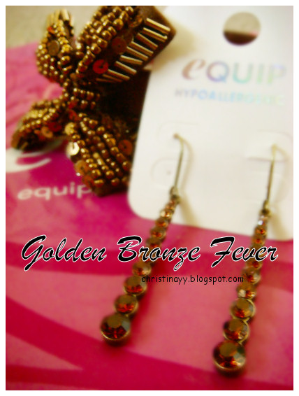 Shopping Items: Golden Bronze Earrings & Hairband