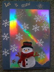 X-Cut Impress snowman & punched flakes on holographic bg (Gregelope) Tags: christmas winter snow colour beautiful silver cards funny frost handmade craftsmanship papercraft craftwork diecut papercutting