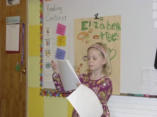 Elizabeth makes her first 2nd grade presentation