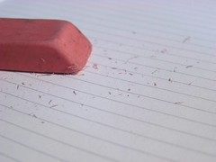 Mistakes (ears737) Tags: macro lines work paper notebook lens kodak eraser rubber dirty page easy share mistakes shavings z8612is 36432mm
