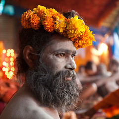 Naga sadhu, Juna Akhara, Haridwar (Marji Lang) Tags: flowers portrait india man colors saint square indian tent holy ashes hindu hinduism indien baba bharat sadhu inde holyman haridwar ind  500x500   kumbhmela akhara hindustan  uttarakhand nagababa junaakhara  natgeofacesoftheworld canon5dmii ascete mahakumbhmela bhratganarjya