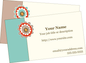 Retro Bloom Printable Business Cards