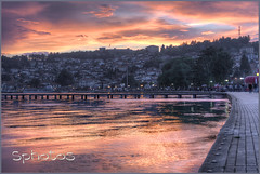 Lake Ohrid (Sphotos Photography) Tags: travel sunset sky lake water beauty skyline sunrise pier bravo macedonia ohrid balkan traveleurope colourscolors viewpointtown
