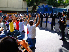 NO to Repression (ervega) Tags: students march hands peace no venezuela protest paz manos caracas protesta knees pm marcha amendment estudiantes studentmovement rodillas claiming movimientoestudiantil policiametropolitana rogando enmienda movimientoestudiantilvenezolano venezuelanstudentmovement