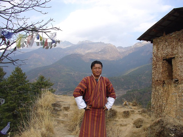 Our Guide Kinga With Mountains Bhutan