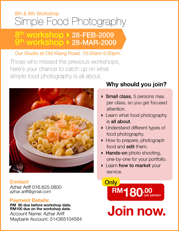 IMAGE:Ad for 8th & 9th Simple Food Photography Workshop