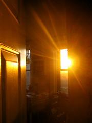 Opening my front door.