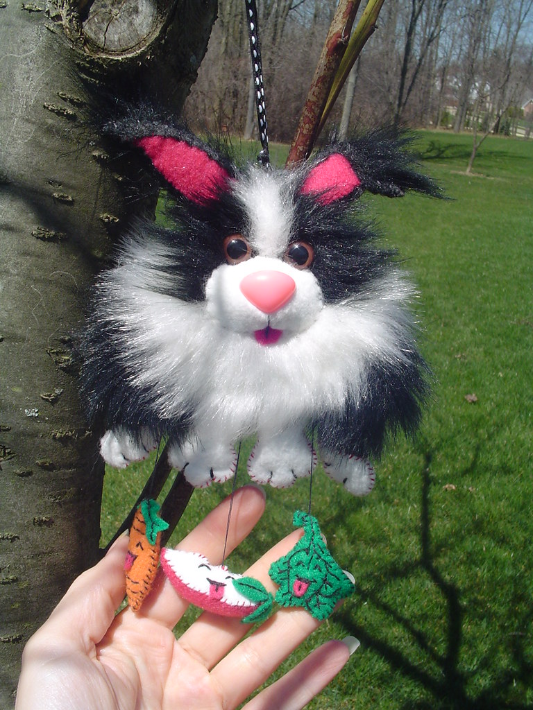 Plush Bunny-- rearview mirror decoration