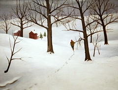 Winter Scene (cliff1066) Tags: winter house sport architecture rural painting season landscape paint play martha hunting scene fabric oil recreation 1934 levy newdeal winterscene saam fiberboard publicworksofart marthalevy sportandplay newdealforartists picturingthe1930s