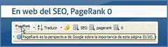 Pareado: En web del SEO PageRank 0