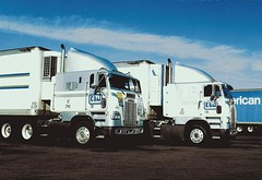 Almost twins (Polo Scher) Tags: truck twins reststop semitruck coe peterbilt kenworth bigrig cabover caboverengine kllm