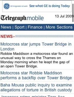Telegraph mobile homepage