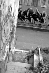 Via Braccini (diegofornero (destino2003)) Tags: street bw italy streetart art writing torino graffiti interestingness italia puppet spray bn piemonte lettering aerosol turin piedmont bombing scalinata vandalismo abbandono degrado urbanblackandwhite destino2003 diegofornero
