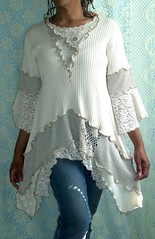 Cream, Beige Ribbed Tunic (brendaabdullah) Tags: fashion diy women recycled sweaters oneofakind tops deconstruction pieced restyled ecoconscious brendaabdullah