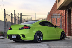 Infiniti G35 Coupe - Lambo Green! (CandlestickPark) Tags: color green car skyline losangeles nikon paint tint automotive headlights lips socal chrome leds nikkor custom volks import rare coupe g35 lowered hdr exhaust jdm modded spoiler infiniti slammed coilovers kenstyle lambo 1755 d300 bodykit 19s molded 1755mm photomatix 1755mmf28 raysengineering