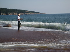 Fishing at Broad Cove Beach
