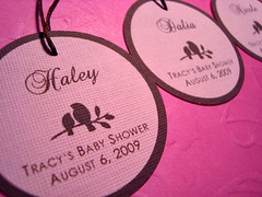 tracy's baby shower - placecard hang tags with guest names typeset