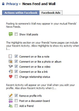 Facebook News Feed and Wall privacy options