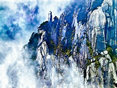 Misty Mountain, Huangshan, China (hk_traveller) Tags: china mountain misty canon painting photo turbo g1  huangshan canong1  turbophoto frhwofavs