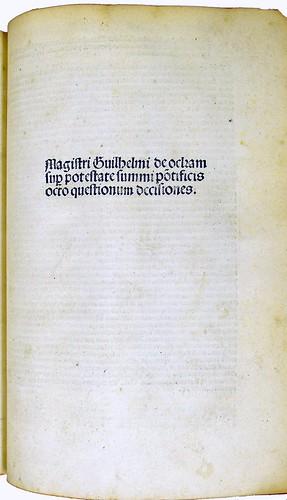 Title-page from Ockam, Guilielmus: Decisiones VIII quaestionum super potestate summi Pontificis