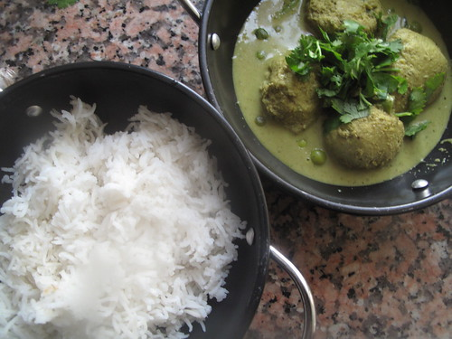 Rice and green curry