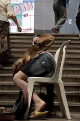 Scomposta (bellimarco) Tags: color scale cane colore metro sofia bulgaria marco belli sedia ragazza bassotto