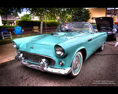 1955 Ford Thunderbird (Cygnus~X1 - Visions by Sorenson) Tags: auto summer usa classic ford 1955 car canon eos automobile unitedstates fb indiana vehicle thunderbird monticello 2009 v8 courthousesquare whitecounty 50d 1955fordthunderbird efs1855mmf3556is 292ci craigsorenson classiccarsandtrucks cruisedaytuesdays larrynewlin thunderbirdblue 20090904060156z
