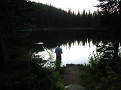 Cole fishing at Parker Lake, Selkirk Mountains, North Idaho